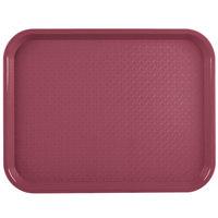 Vollrath 86103 10 inch x 14 inch Burgundy Plastic Fast Food Tray - 24/Case