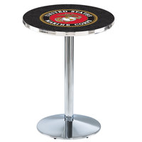 Holland Bar Stool L214C3628Marine 28 inch Round United States Marine Corps Pub Table with Chrome Round Base