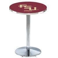 Holland Bar Stool L214C36FSU-FS 28 inch Round Florida State University Pub Table with Chrome Round Base