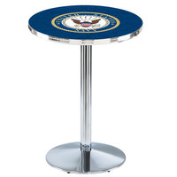 Holland Bar Stool L214C3628Navy 28 inch Round United States Navy Pub Table with Chrome Round Base