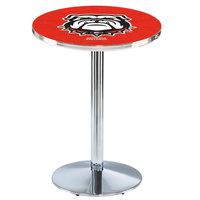 Holland Bar Stool L214C36GA-Dog 28 inch Round University of Georgia Pub Table with Chrome Round Base