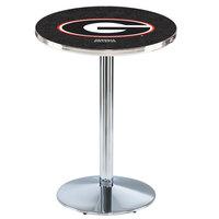 Holland Bar Stool L214C36GA-G 28 inch Round University of Georgia Pub Table with Chrome Round Base