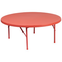 Flash Furniture RB-48R-KID-RD-GG 48 inch Round Kids Red Plastic Folding Table