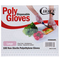 Choice Large Disposable Food Service Poly Gloves - 1000/Box