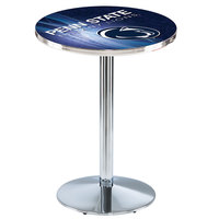 Holland Bar Stool L214C3628PennSt-D2 28 inch Round Penn State University Pub Table with Chrome Round Base