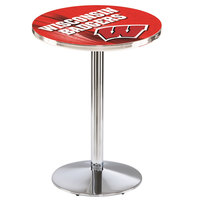 Holland Bar Stool L214C3628Wisc-W-D2 28 inch Round University of Wisconsin Pub Table with Chrome Round Base