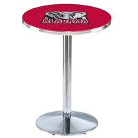 Holland Bar Stool L214C36AL-Ele 28 inch Round University of Alabama Pub Table with Chrome Round Base