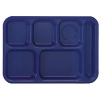 Vollrath 2015-104 Traex® 10 inch x 14 inch Bright Blue Rectangular Right Handed 6 Compartment Polypropylene Tray - 24/Case