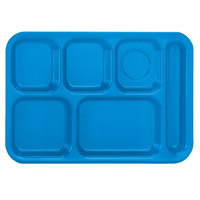 Vollrath 2015-04 Traex® 10 inch x 14 inch Blue Rectangular Right Handed 6 Compartment Polypropylene Tray - 24/Case