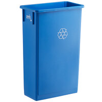 Lavex Janitorial 23 Gallon Blue Slim Rectangular Recycle Bin