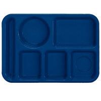 Vollrath 2614-04 Traex® 10 inch x 14 inch Blue Rectangular Left Handed 6 Compartment Polypropylene Tray - 24/Case