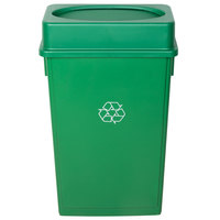 Lavex Janitorial 23 Gallon Green Slim Recycling Can and Green Swing Lid