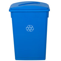 Lavex Janitorial 23 Gallon Blue Slim Recycling Can and Blue Lid with Slot