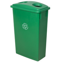 Lavex Janitorial 23 Gallon Green Slim Recycling Can and Green Lid with Holes