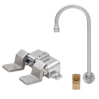 Fisher 73410 Backsplash Mounted Hand Washing Faucet with 12 inch Rigid Gooseneck Nozzle, 0.35 GPM PCA Spray Aerator, Dual Floor Foot Valves, and Elbow