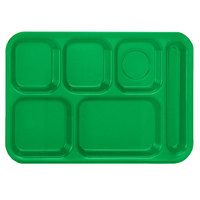 Vollrath 2015-119 Traex® 10 inch x 14 inch Bright Green Rectangular Right Handed 6 Compartment Polypropylene Tray - 24/Case