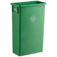 Lavex Janitorial 23 Gallon Green Slim Rectangular Recycle Bin