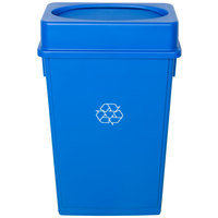 Lavex Janitorial 23 Gallon Blue Slim Recycling Can and Blue Swing Lid