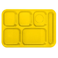 Vollrath 2015-138 Traex® 10 inch x 14 inch Bright Yellow Rectangular Right Handed 6 Compartment Polypropylene Tray - 24/Case