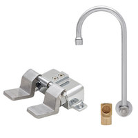 Fisher 73411 Backsplash Mounted Hand Washing Faucet with 6 inch Rigid Gooseneck Nozzle, 0.35 GPM PCA Spray Aerator, Dual Floor Foot Valves, and Elbow