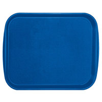 Vollrath 1418-44 Traex® 14 inch x 18 inch Royal Blue Rectangular Premium Plastic Fast Food Tray with Built-In Handles - 12/Case