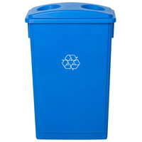 Lavex Janitorial 23 Gallon Blue Slim Recycling Can and Blue Lid with Holes