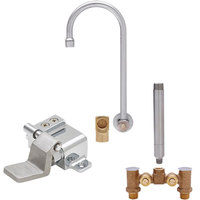 Fisher 73417 Backsplash Mounted Hand Washing Faucet with Temperature Control Valve, 6 inch Rigid Gooseneck Nozzle, 0.35 GPM PCA Spray Aerator, Foot Valve, and Elbow