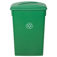 Lavex Janitorial 23 Gallon Green Slim Recycling Can and Green Lid with Slot