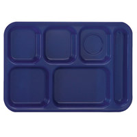 Vollrath 2615-104 Traex® 10 inch x 14 1/2 inch Bright Blue Rectangular Right Handed 6 Compartment Polypropylene Tray - 24/Case