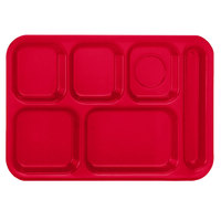 Vollrath 2015-02 Traex® 10 inch x 14 inch Red Rectangular Right Handed 6 Compartment Polypropylene Tray - 24/Case