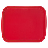 Vollrath 1418-02 Traex® 14 inch x 18 inch Red Rectangular Premium Plastic Fast Food Tray with Built-In Handles - 12/Case