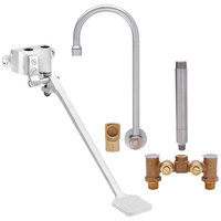 Fisher 73415 Backsplash Mounted Hand Washing Faucet with Temperature Control Valve, 6 inch Rigid Gooseneck Nozzle, 0.35 GPM PCA Spray Aerator, Foot Wall Valve, and Elbow