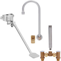 Fisher 73414 Backsplash Mounted Hand Washing Faucet with Temperature Control Valve, 12 inch Rigid Gooseneck Nozzle, 0.35 GPM PCA Spray Aerator, Foot Wall Valve, and Elbow