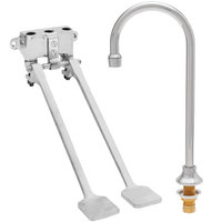 Fisher 73427 Deck Mounted Hand Washing Faucet with 6 inch Rigid Gooseneck Nozzle, 0.35 GPM PCA Spray Aerator, and Dual Foot Wall Valves