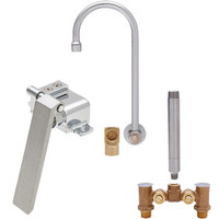 Fisher 73412 Backsplash Mounted Hand Washing Faucet with Temperature Control Valve, 12 inch Rigid Gooseneck Nozzle, 0.35 GPM PCA Spray Aerator, Knee Valve, and Elbow