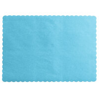 Choice 10 inch x 14 inch Sky Blue Colored Paper Placemat with Scalloped Edge   - 1000/Case