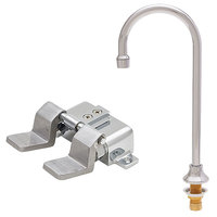 Fisher 73428 Deck Mounted Hand Washing Faucet with 12 inch Rigid Gooseneck Nozzle, 0.35 GPM PCA Spray Aerator, and Dual Foot Valves