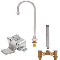 Fisher 73423 Deck Mounted Hand Washing Faucet with Temperature Control Valve, 6 inch Rigid Gooseneck Nozzle, 0.35 GPM PCA Spray Aerator, and Foot Valve