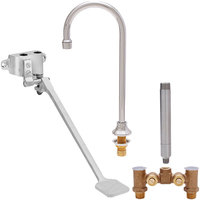 Fisher 73420 Deck Mounted Hand Washing Faucet with Temperature Control Valve, 12 inch Rigid Gooseneck Nozzle, 0.35 GPM PCA Spray Aerator, and Foot Valve