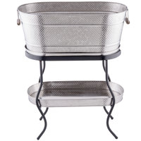 Tablecraft GTSS2313N Brickhouse 12.75 Gallon Stainless Steel Beverage Tub Set - 27 1/2 inch x 15 inch x 32 inch