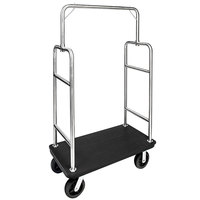 CSL 2599PLS-010 Heavy Duty 43 inch x 23 inch x 71 inch Squared Top Bellman Cart with Recycled Plastic Deck