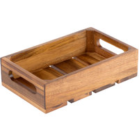 Tablecraft CRATE14 Gastronorm Acacia Wood Serving and Display Crate - 10 3/8 inch x 6 1/2 inch x 2 3/4 inch