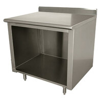 Advance Tabco EK-SS-243 24 inch x 36 inch 14 Gauge Open Front Cabinet Base Work Table with 5 inch Backsplash