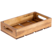 Tablecraft CRATE13 Gastronorm Acacia Wood Serving and Display Crate - 12 3/4 inch x 7 inch x 2 3/4 inch