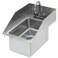 Advance Tabco DI-1-10SP-EC Drop-In Stainless Steel Sink with Tapered Side Splash - 10 inch x 14 inch x 10 inch Bowl