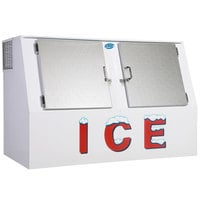 Leer LP462C 73 inch Outdoor Cold Wall Ice Merchandiser with Slanted Front and Stainless Steel Doors
