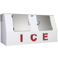 Leer LP612C 94 inch Outdoor Cold Wall Ice Merchandiser with Slanted Front and Stainless Steel Doors