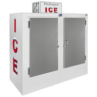 Leer 60AS 73 inch Outdoor Auto Defrost Ice Merchandiser with Straight Front and Stainless Steel Doors