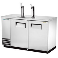 True TDD-2-S-HC 59 inch Two Keg Stainless Steel Direct Draw Kegerator Beer Dispenser with Two Taps