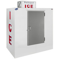 Leer 65AS 64 inch Outdoor Auto Defrost Ice Merchandiser with Straight Front and Stainless Steel Door